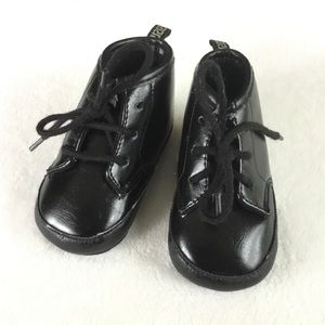 Black vegan leather baby shoes